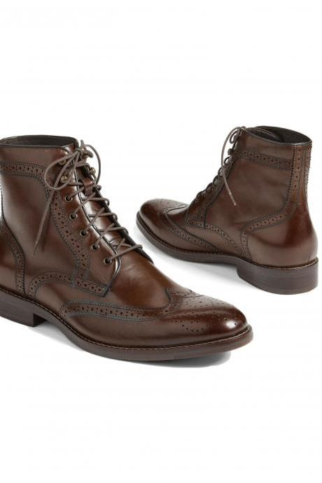 Dark Brown wing Tip Genuine Leather Boots, Men's Ankle High Brogue Leather Boots