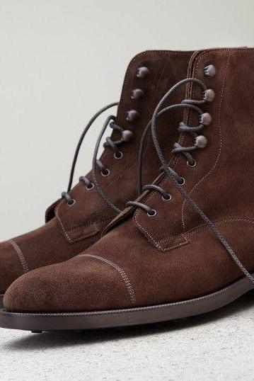 MEN BROWN SUEDE LACE UP ANKLE BOOT, HANDMADE DRESS BOOT, BROWN FORMAL BOOT