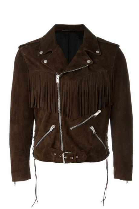 Men Fringed Motorcycle Jacket Men Clothing,Yves Suede Jacket Online