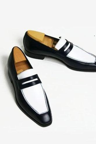 Men's Genuine leather shoes, Black and white Leather Moccasins Slippers