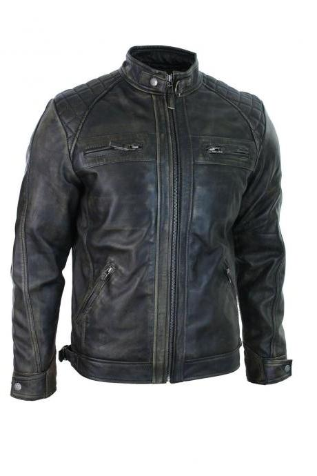 Men's leather jacket Motorcycle Biker Retro Distressed Cafe Racer Leather jacket