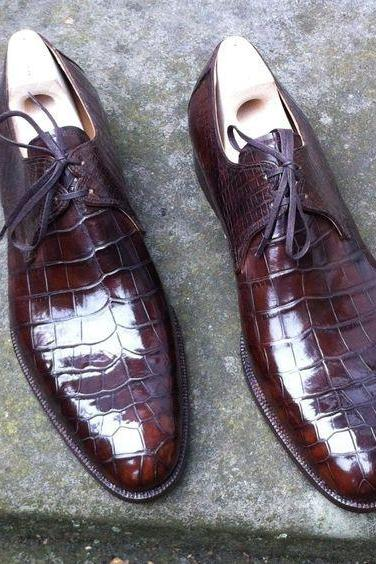 Men's Brown alligator Leather Shoes, Formal Crocodile Texture Leather Shoe