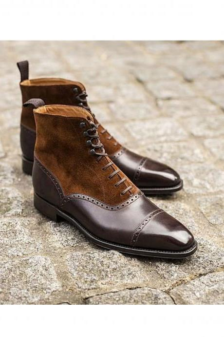Handmade Men suede leather Boots, Men Brown Lace up boots