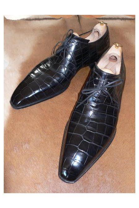Men's Leather Shoes Formal Crocodile Alligator Texture Leather Shoe