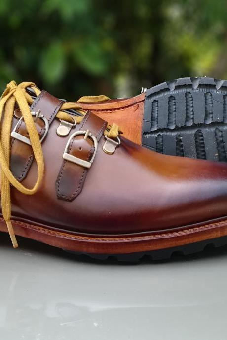 Handmade brown shoes, formal two tone shoe, jeans casual men boots
