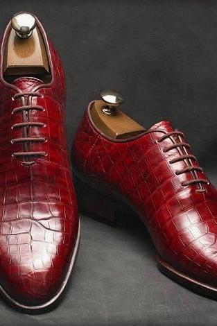 Handmade Leather Shoes, Formal Crocodile Texture Leather Men derby burgundy Shoe