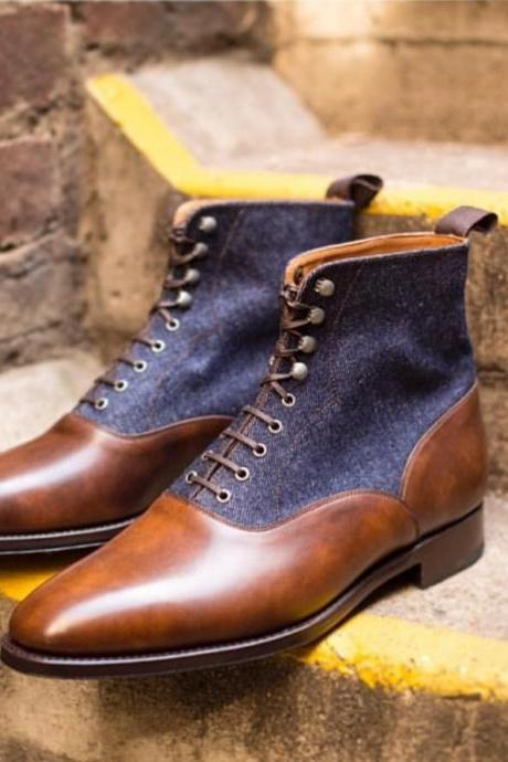 handmade leather Denim boots Dress Ankle high Brown Boots Men Leather Dress Boot