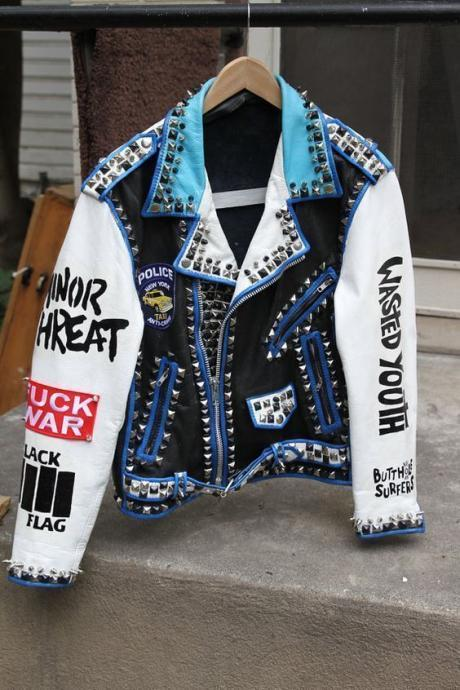 Mens silver studded genuine leather jacket, Rock punk blue white jackets