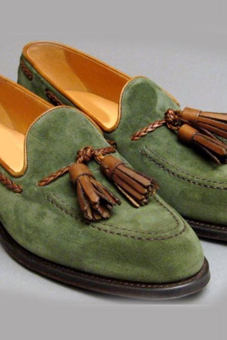 Handmade green suede leather shoes, Men leather shoes, men's slippers