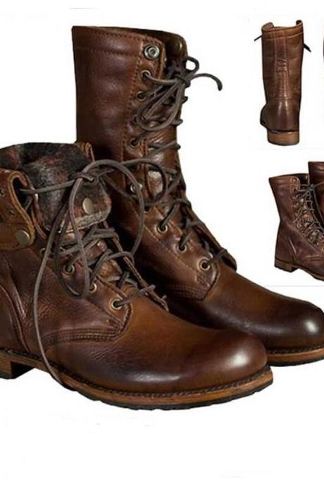 Men's Punk Motorcycle Leather Oxfords Boots Military Lace up Combat Army Shoes