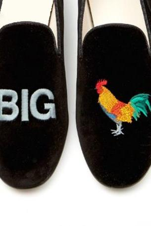 Handmade Black Big Cock shoe, velvet casual shoe Men moccasin slip on Party shoes