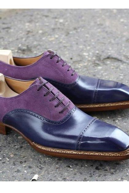 Men handmade two Tone Oxford Shoes, Navy Purple Leather Shoes, Dress Formal Shoe