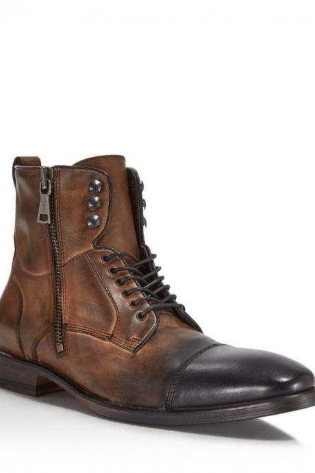 Hand crafted Leather Boots, Distress captor Formal Boot, casual Cap toe Military Boots