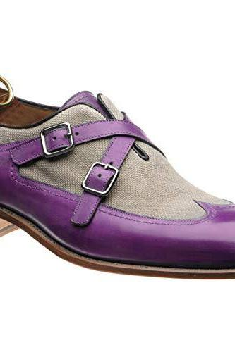 Men's handmade two-tone double monk shoe in purple Calf and Canvas, Dress Designer Men Shoes