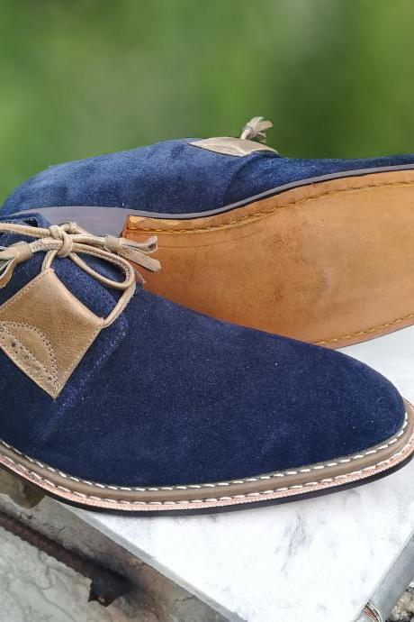 Handmade Luxury Derby shoes, Men's Navy Retro Elegant Dress Suede Lace up Shoes