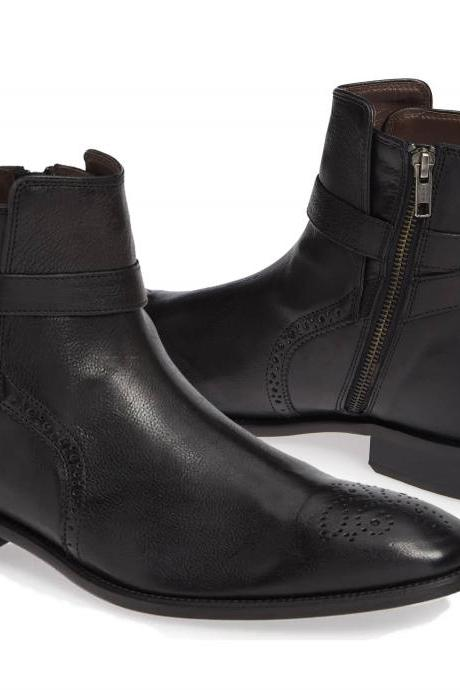 Handmade Black Side Zipper Boots, Dress Boots, Monk Strap Boots, Ankle high boots
