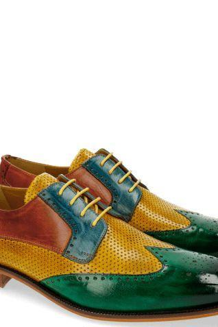 Handmade panted Color Green yellow Wing tip oxford Shoe, Men Leather Brogue Shoe