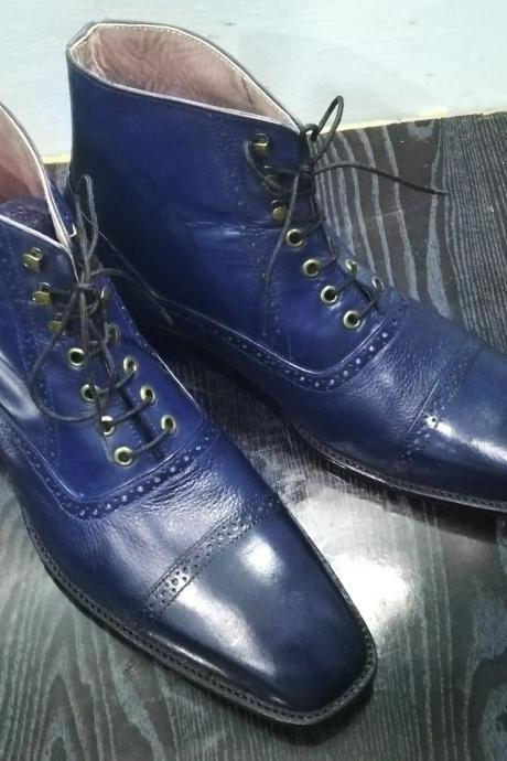 Handmade Navy Bluefish Leather Boot,Men's Lace Up Dress Cap Toe Ankle High Boot