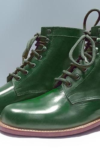 Handmade green Boot, Men's Formal Ankle High Boot, Lace Up designer Leather Boots
