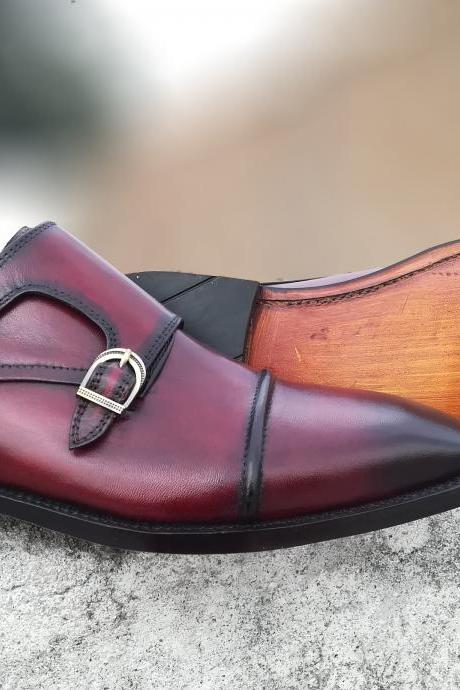 Handmade Double Monk Burgundy Shoes, Men's Formal Designer Leather Shoes
