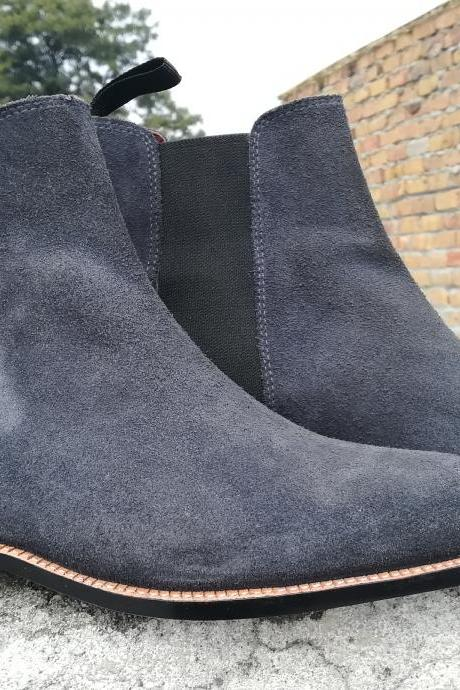 Handmade Men's Gray Chelsea Suede Boots, Men Ankle High Boots