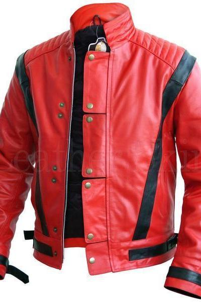 Handmade Stylish Leather Jacket, Men's Red Black Strips Fashion Biker Jacket