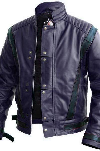 Handmade Men Michael Jackson Style Blue Leather Jacket, Men Biker Fashion Jackets