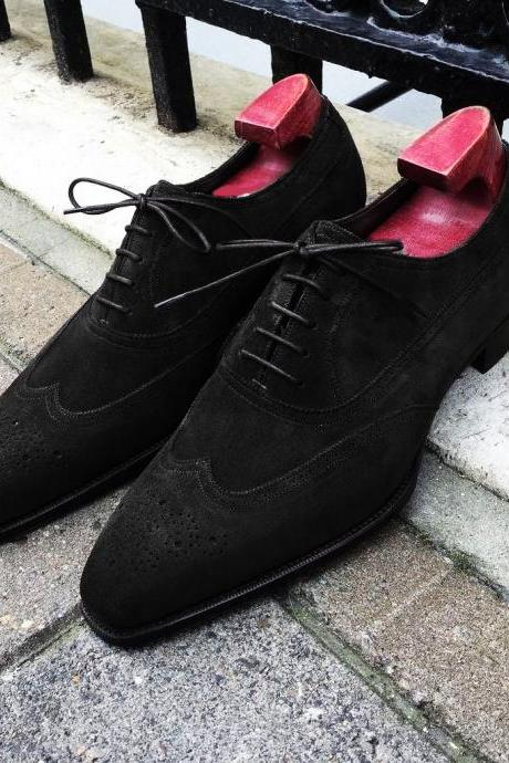 Handmade Black Suede Shoes, Men's Wingtip Formal Lace Up Brogue Shoes