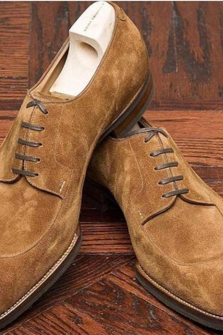 Handmade brown Suede Shoes, Men's brogue Formal Lace Up dress Shoes
