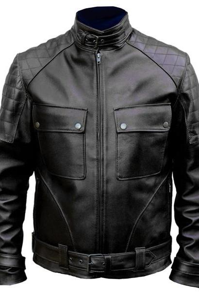 handmade black classic jacket, men's biker slim fit lambskin leather jacket
