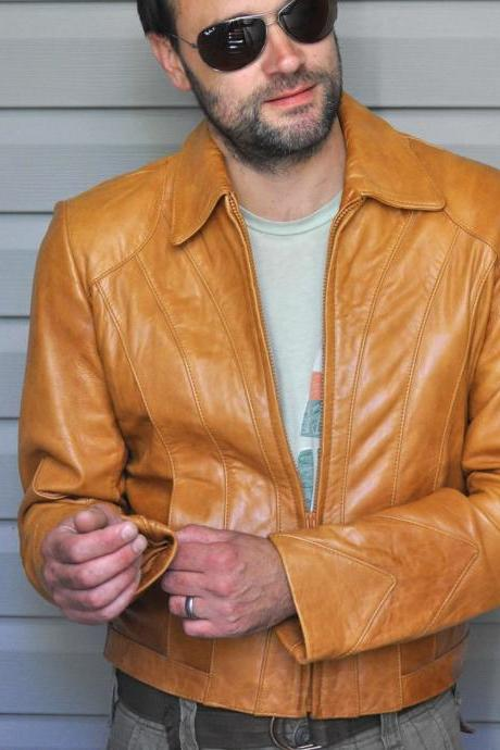 Men's Tan Color Leather Biker Fashion Casual Leather Jacket, men's classic simple jacket handmade