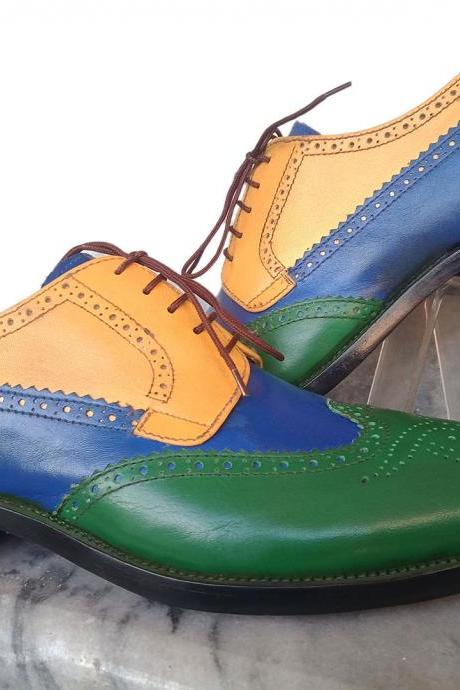 Handmade wing tip Multi Color Shoes, Men's Oxford Leather Lace Up Fashion