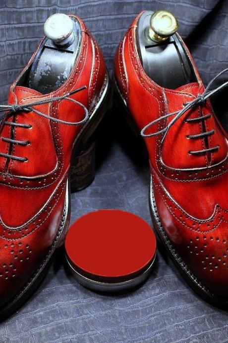 Hand stitch Custom Handmade Bespoke Patina Brogue Shoes Wing tip Maroon Leather