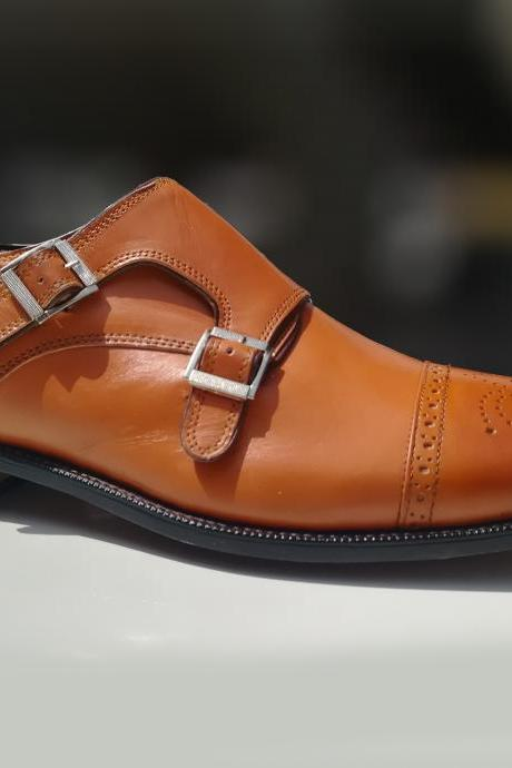 Men's Handmade Double Monk Shoes, Leather Tan Office Formal Dress Leather Shoes