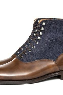 Handmade Brown Blue Men Ankle High Dress Formal Office Business Boot