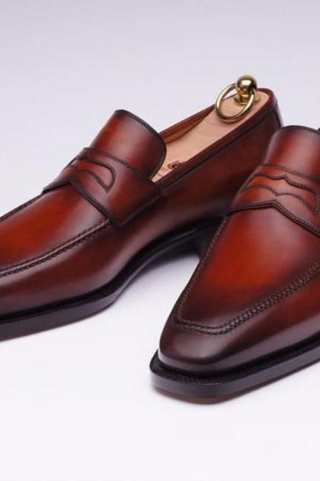 Handmade Men's Burgundy Color Loafer Moccasins Shoes, Men's Leather Fashion Shoes