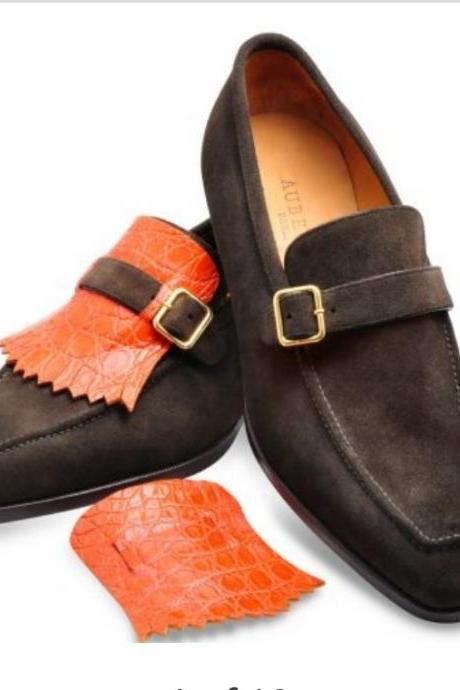 Handmade Men's Brown Color Loafer Moccasins Shoes, Men's Suede Strap Fashion Shoes