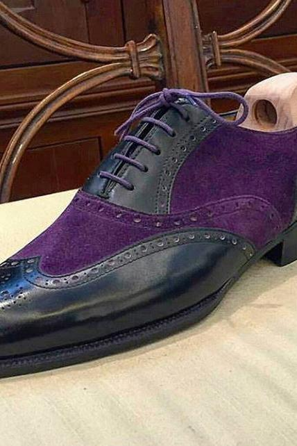 Handmade New Black Purple Color Leather Suede Shoes, Men's Lace Up Wing Tip Formal Shoes
