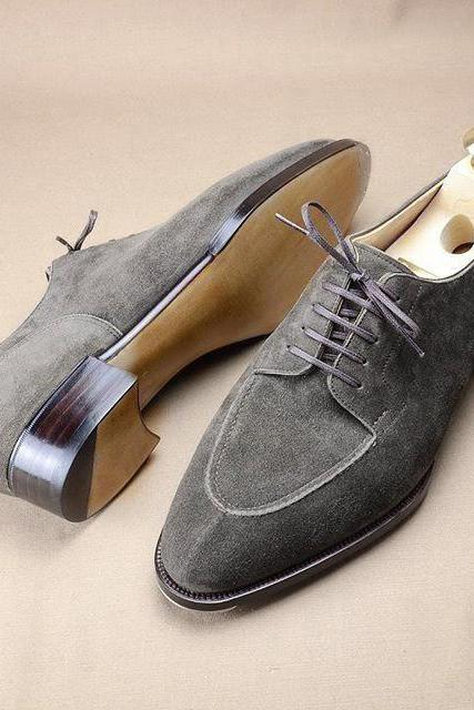 Handmade Suede Gray Shoes, Formal Party Dress Shoes formal Men Lace up shoes