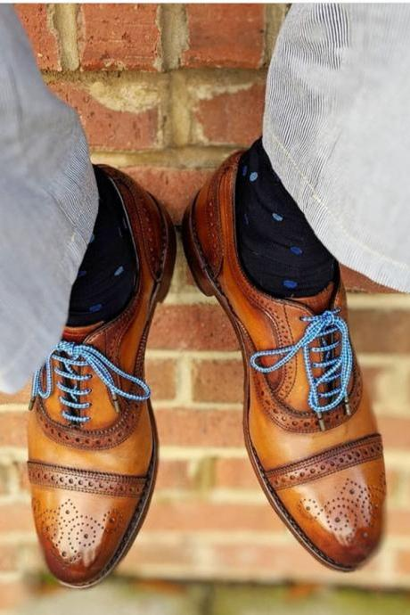 Handmade Tan Color Leather Shoes, Men's Lace Up Cap Toe Brogue Formal Shoes