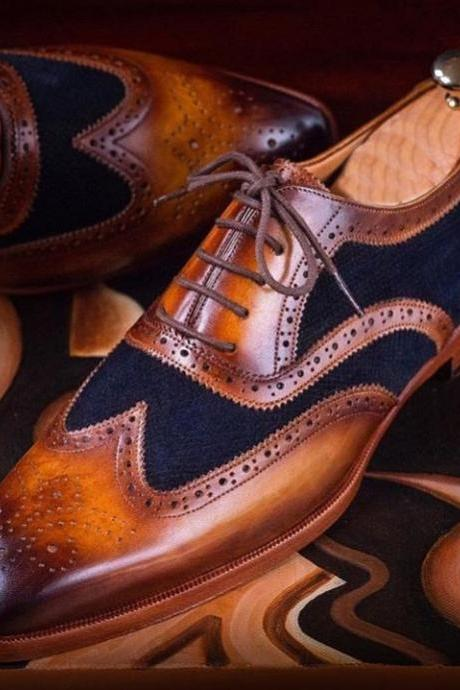 Handmade Navy Blue Brown Color Leather Shoes, Men's Lace Up Wing Tip Brogue Formal Shoes