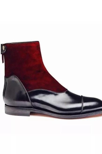 Handmade Cap Toe Zipper Boot, Men's Maroon Black Leather Suede Ankle High Boot, Men Dress formal Boot