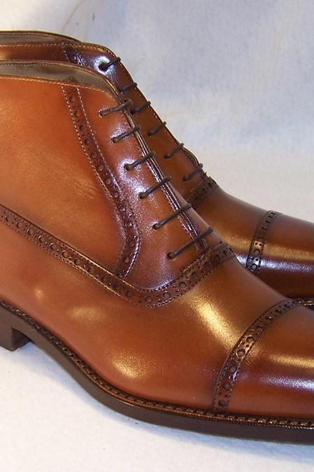 Handmade Cap Toe Boot, Men's Brown Color Leather Ankle High Boot, Men Dress formal Lace Up Boot