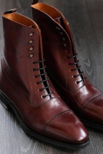 Handmade Cap Toe Boot, Men's Burgundy Color Leather Ankle High Boot, Men Dress formal Lace Up Boot