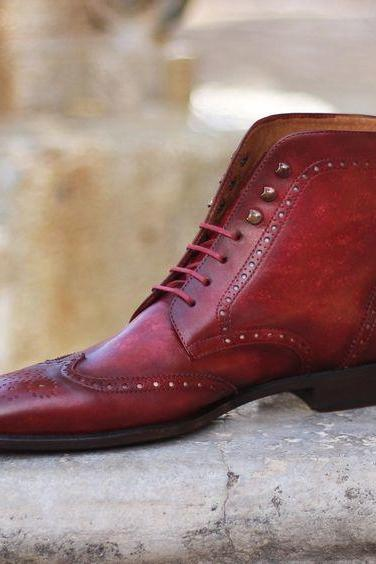 Handmade Wing Tip Brogue Boot, Men's Burgundy Color Leather Ankle High Boot, Men Dress formal Lace Up Boot