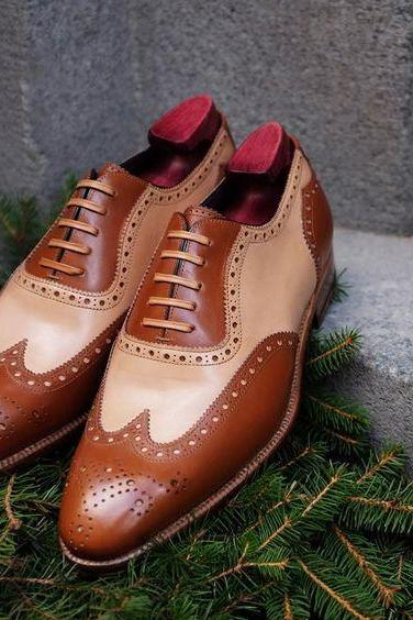 Handmade Brown Beige Color Leather Shoes, Men's Lace Up Wing Tip Brogue Formal Shoes