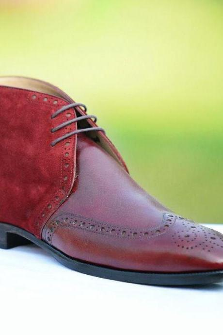Handmade Wing Tip Brogue Chukka Boot, Men's Burgundy brown Color Leather Suede Lace Up Boot