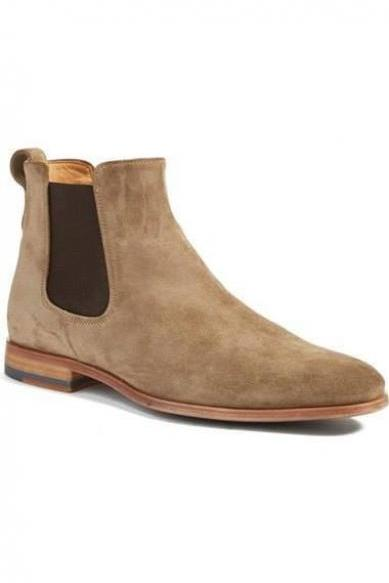 Handmade Chelsea Boot, Men's Beige Color Suede Ankle High Boot