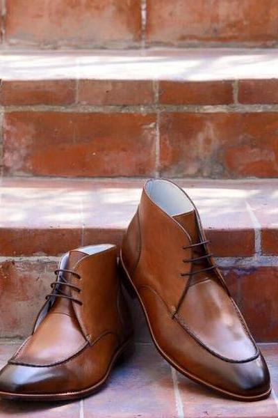 Handmade Chukka Style Boot, Men's Tan Color Leather Lace Up Boot