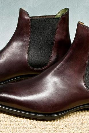 Handmade Chelsea Boot, Men's Brown Color Leather Ankle High Boot